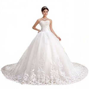 Dresses & Skirts - Sweetheart Lace Chapel Train Gown Wedding Dresses